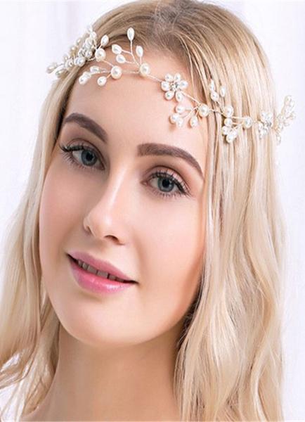 Milanoo Pearl Wedding Jewelry White Alloy Rhinestone Wedding Headband