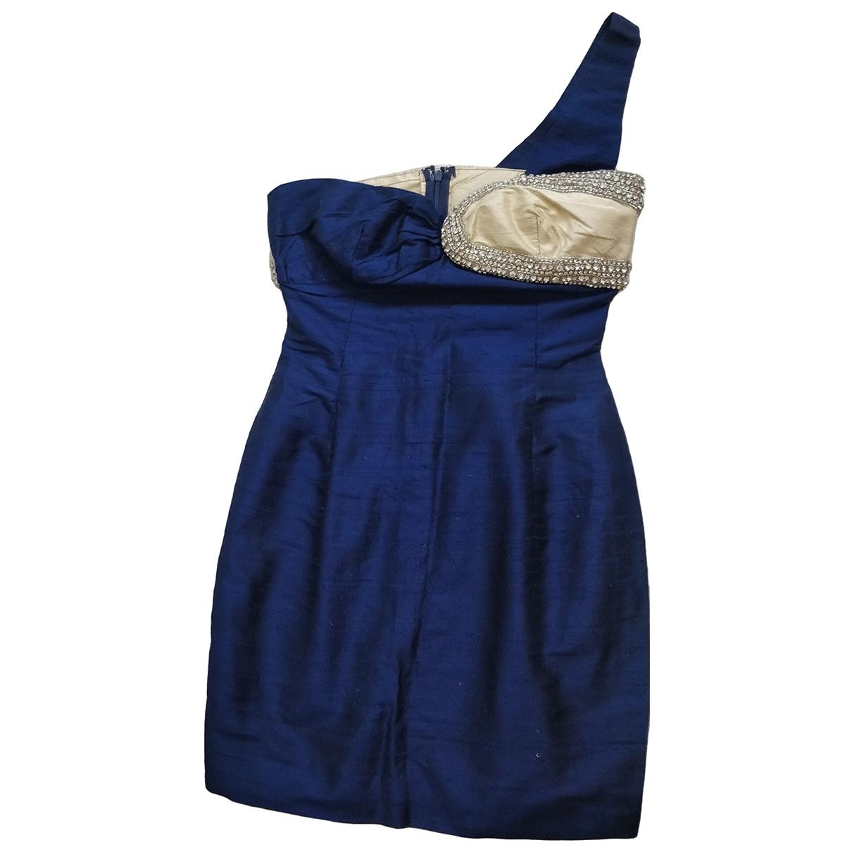 Non Signe / Unsigned \N Kleid in  Marine Leinen