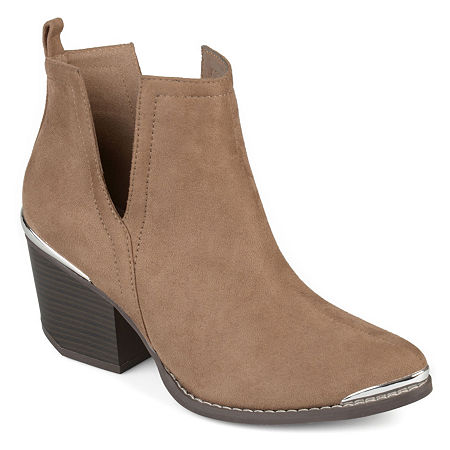 Journee Collection Womens Issla Booties Stacked Heel, 5 1/2 Medium, Beige