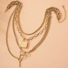 Mehrschichtige Halskette mit Sperren & Schluessel Dekor