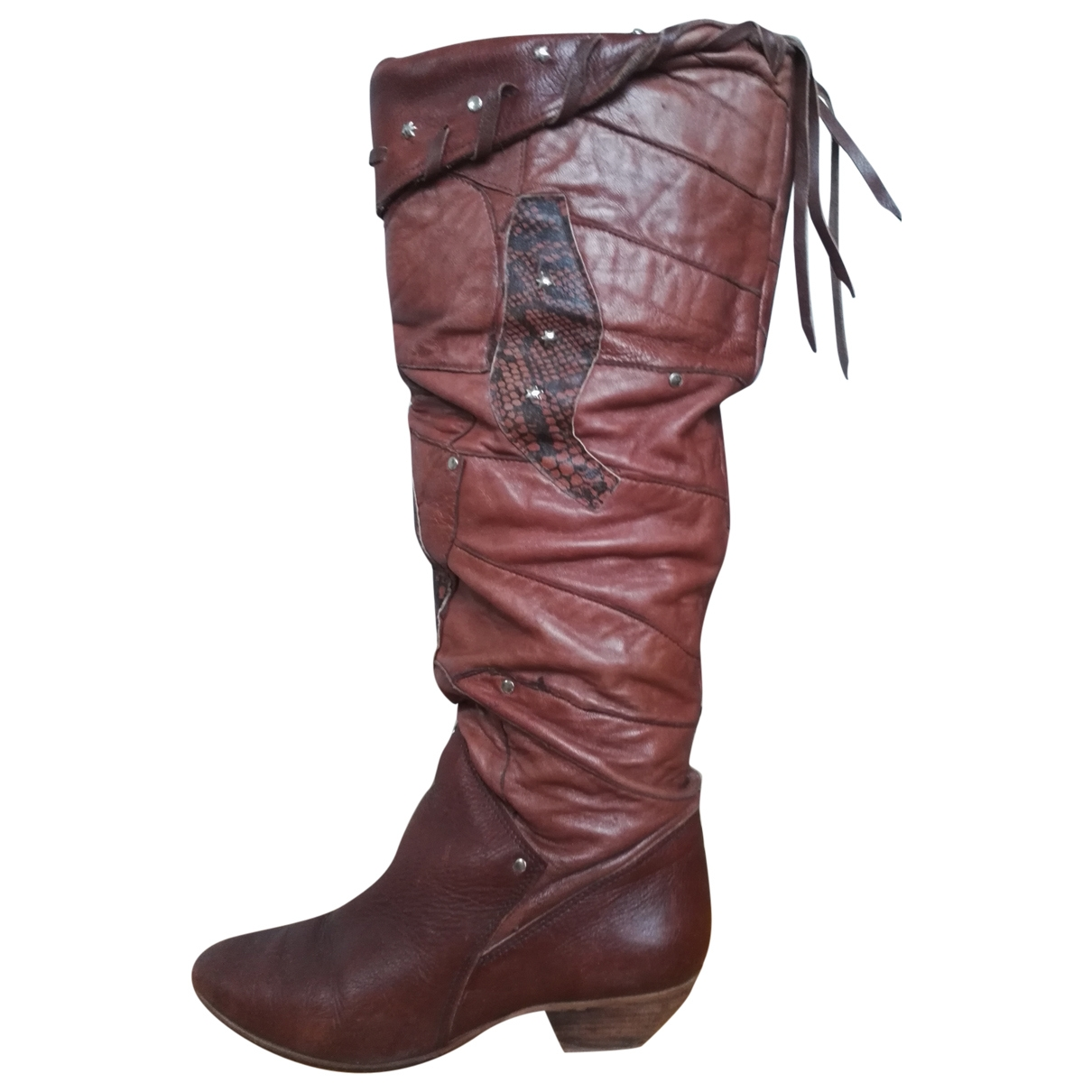 Non Signé / Unsigned \N Brown Leather Boots for Women 39 EU