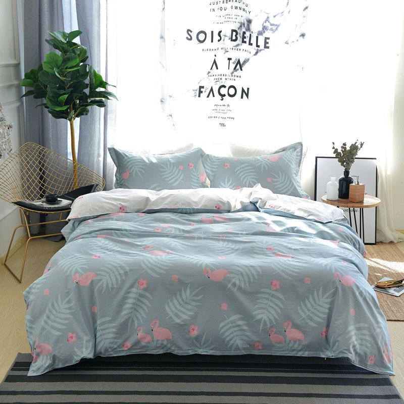 Flamingo 4-Piece Cotton Bedding Sets Breathable Skin-friendly Zipper Blue Duvet Cover Set