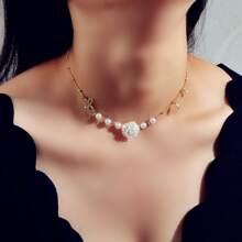 Rhinestone & Pearl Decor Necklace