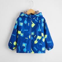 Toddler Boys Cartoon Dinosaur & Letter Graphic Windbreaker Jacket