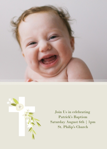 Christening + Baptism 5x7 Cards, Premium Cardstock 120lb with Rounded Corners, Card & Stationery -Botanical Cross