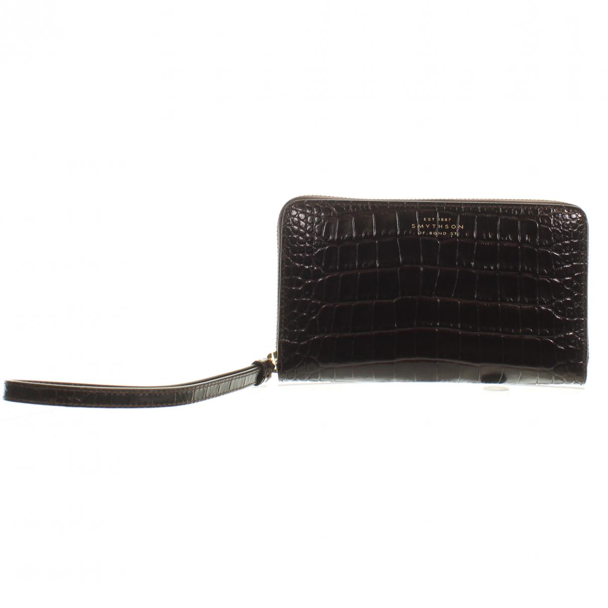 Smythson - Portefeuille   pour femme en cuir exotique - marron