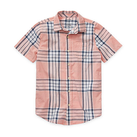 Arizona Little & Big Boys Short Sleeve Button-Down Shirt, 18-20 Husky , Pink