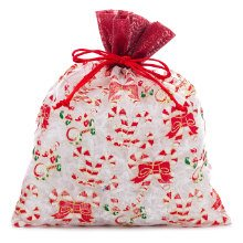 Sheer White / Red Candy Canes Christmas Bags - 8 X 10 - Fabric Cloth - Quantity: 12 - Fabric Bags by Paper Mart