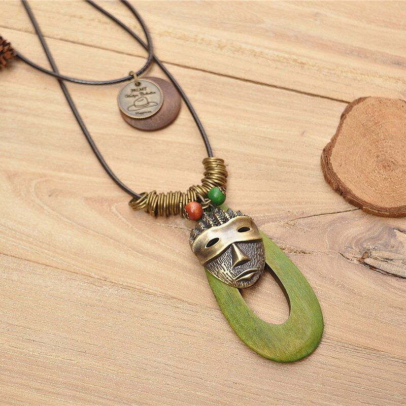Retro Oval Hollow Wood Pendant Wax Rope Necklace Geometric Mask Multi-layer Necklace Sweater Chain