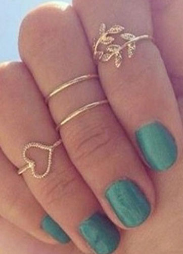 Milanoo Gold Metal Casual Knuckle Ring for Women