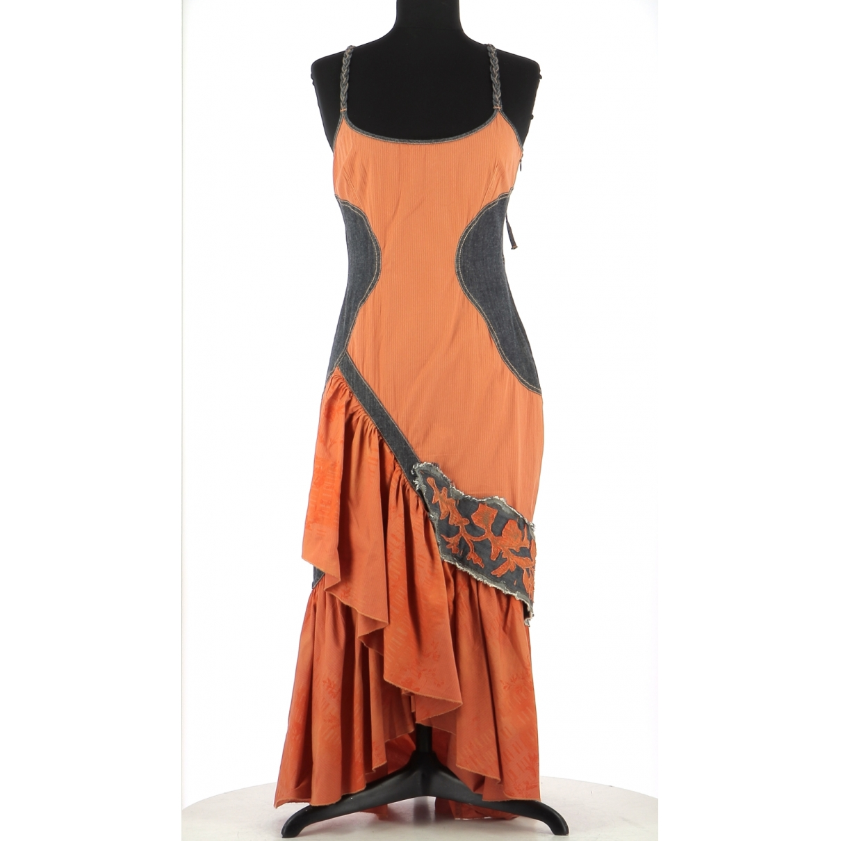 - Robe   pour femme en coton - orange