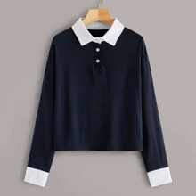 Contrast Collar And Cuff Polo Tee