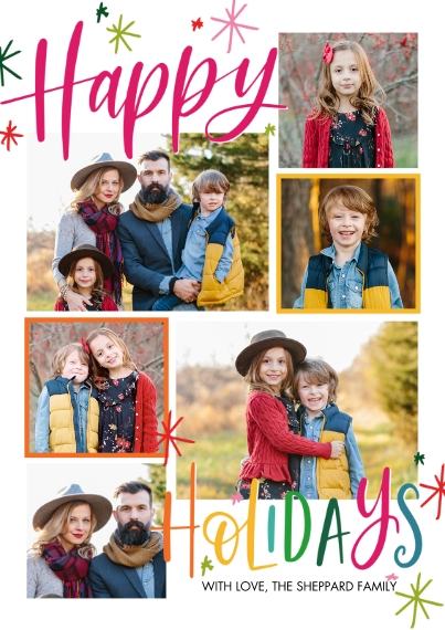 Holiday Photo Cards 5x7 Cards, Premium Cardstock 120lb with Scalloped Corners, Card & Stationery -Holiday Festive Stars by Tumbalina
