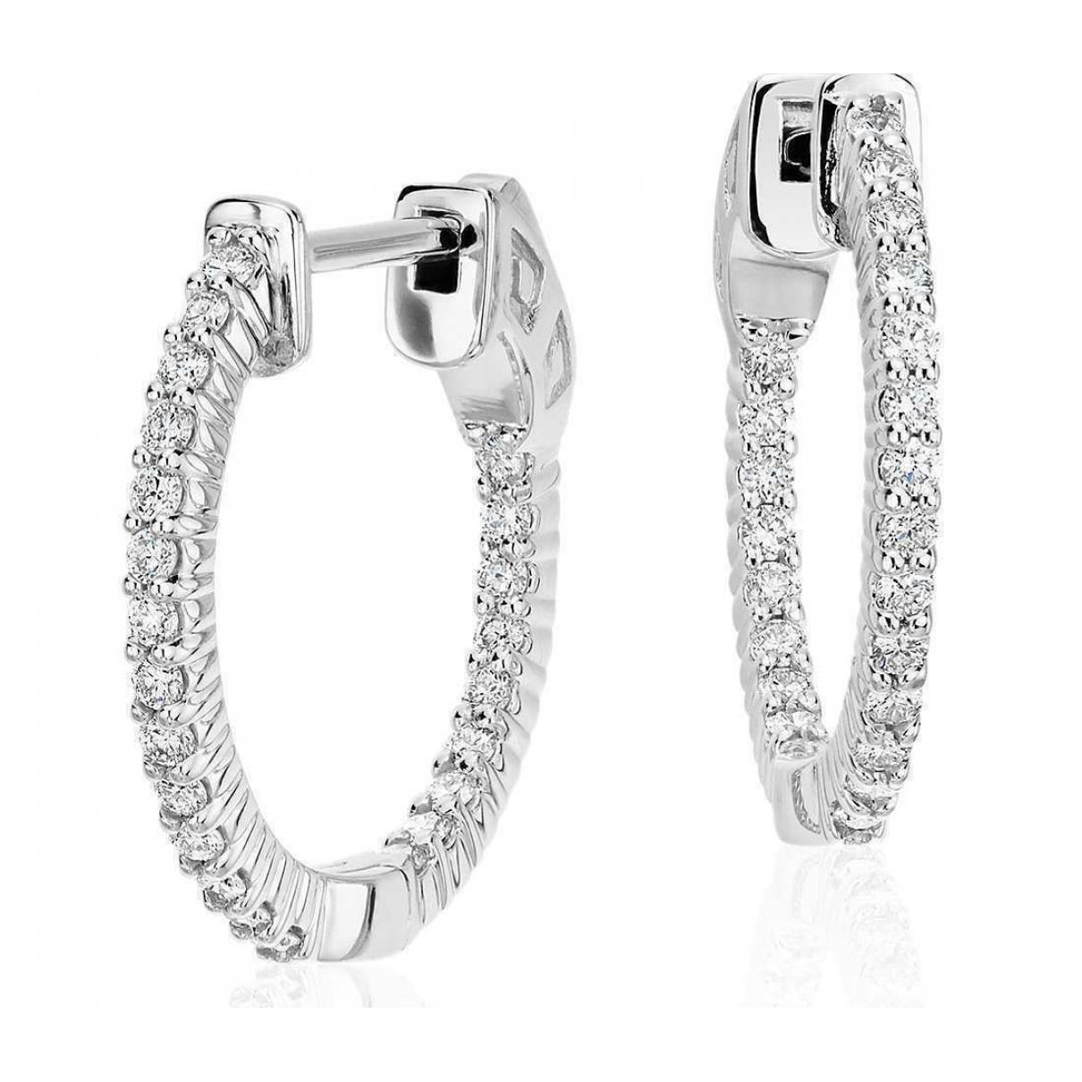 Non Signé / Unsigned Créoles Silver White gold Earrings for Women \N
