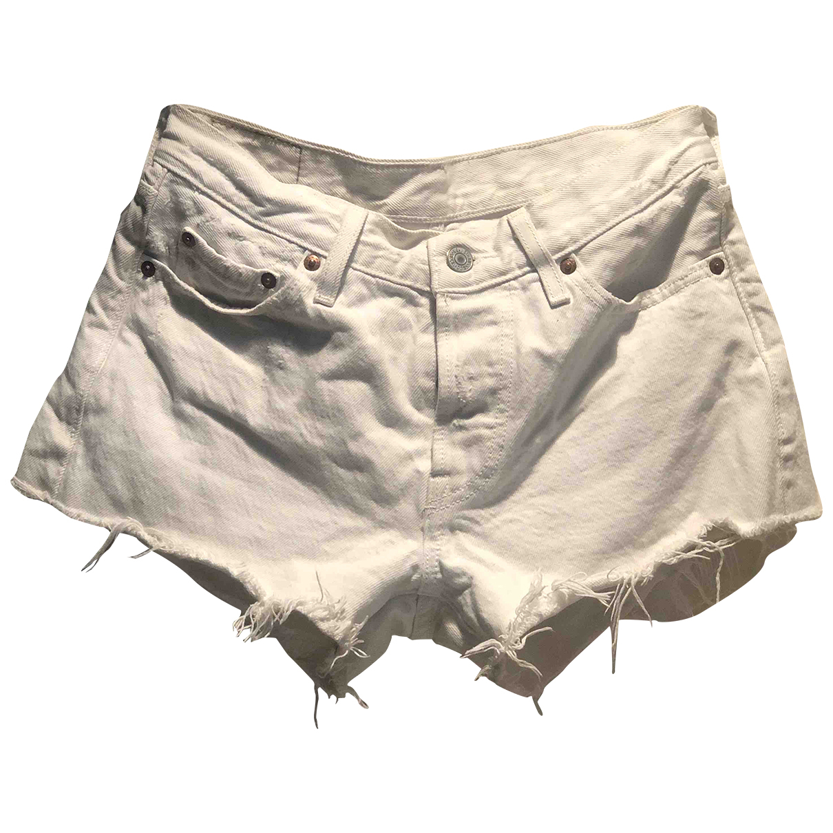 Levi's N White Cotton Shorts for Women 34 FR