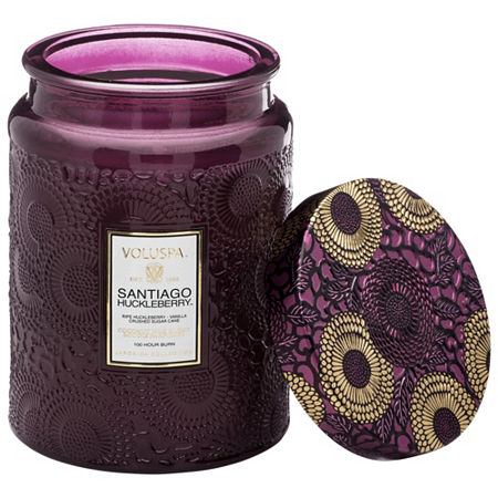 VOLUSPA Santiago Huckleberry Large Glass Jar Candle, One Size , Multiple Colors