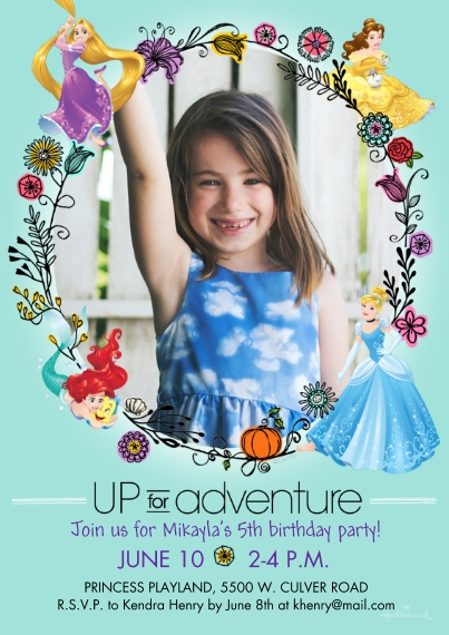 Kids Birthday Party Invites Flat Matte Photo Paper Cards with Envelopes, 5x7, Card & Stationery -Up for Adventure - Princesses