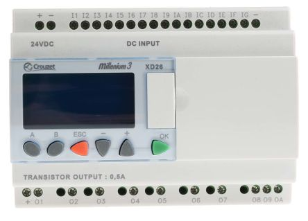 Crouzet Millenium 3 Logic Module, 24 V dc Solid State, 16 x Input, 10 x Output With Display