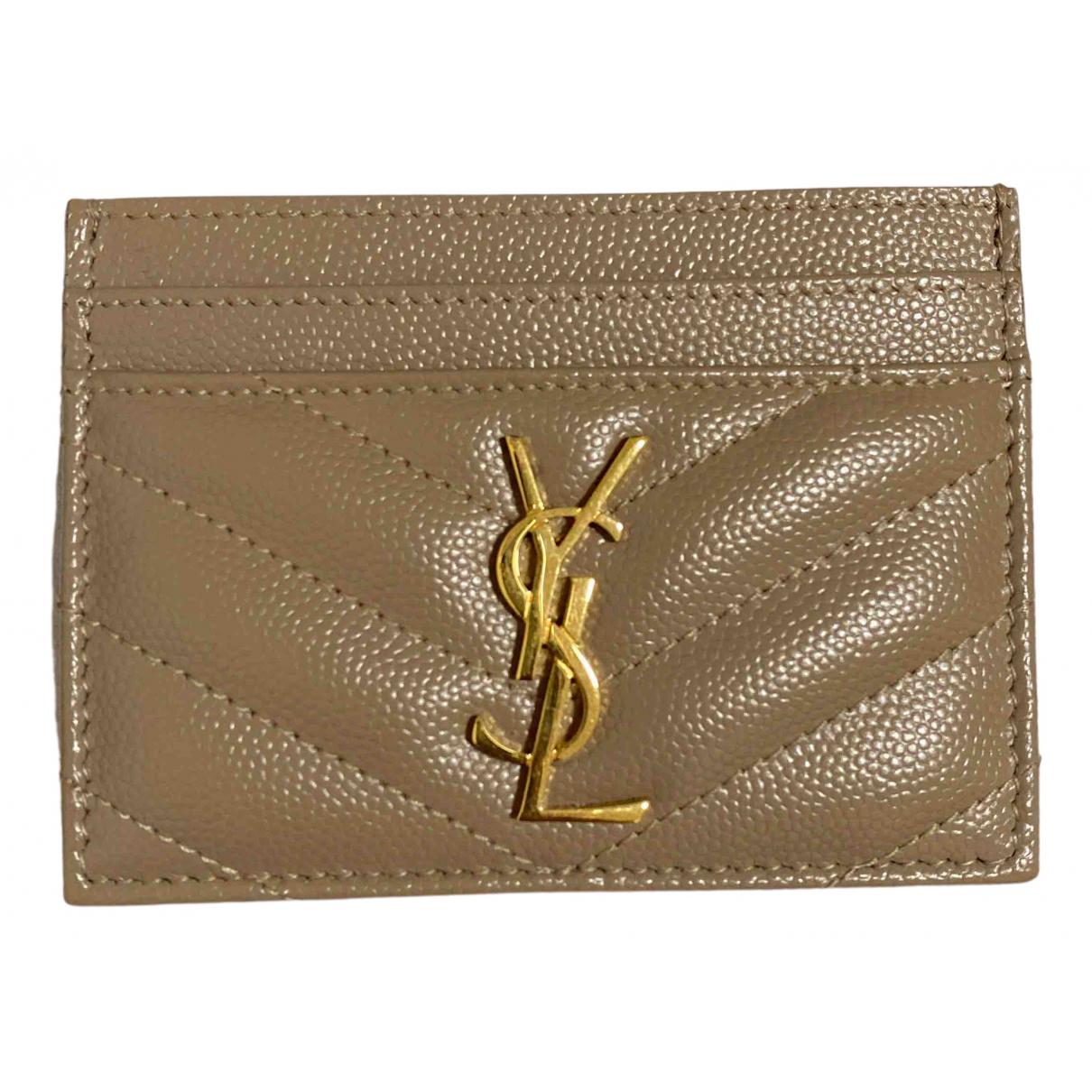 Saint Laurent Monogramme Beige Leather Purses, wallet & cases for Women \N