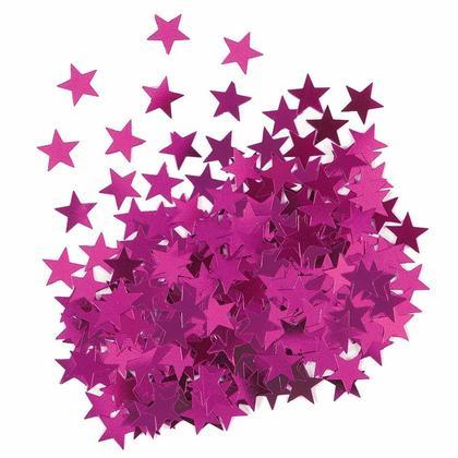 Confettis de table étoile en feuille métallique rose pour la décoration de fêtes, 0.5oz