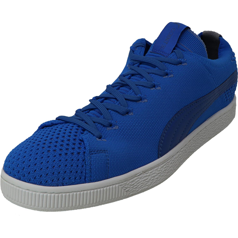 Puma Men's Basket Evoknit 3D Electric Blue Lemo / Yonder White Ankle-High Sneaker - 11M