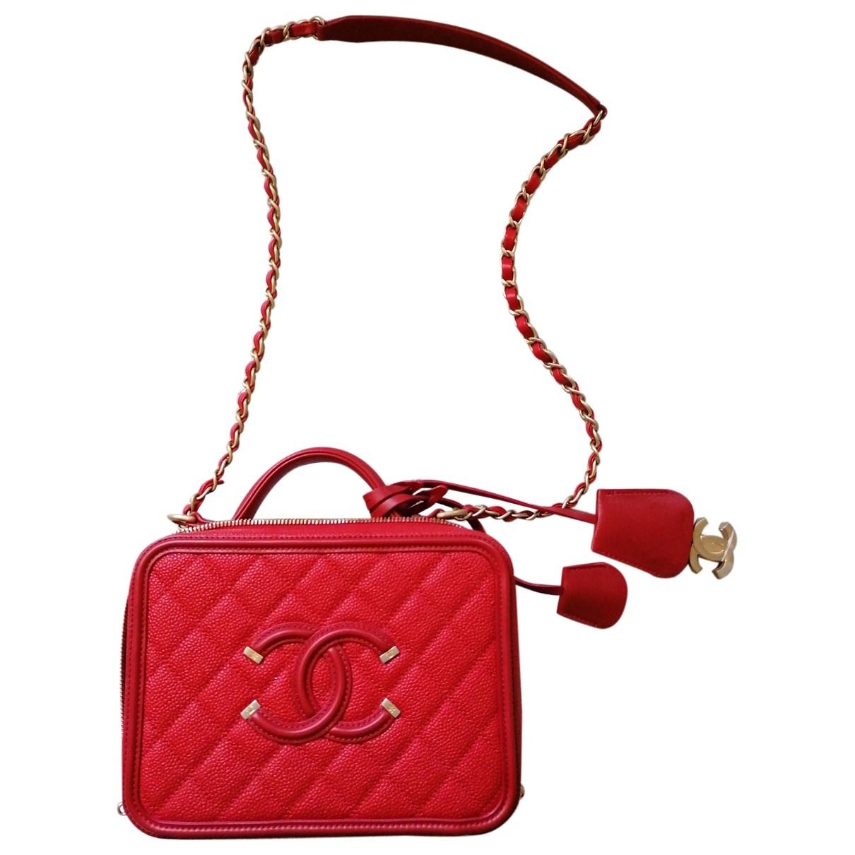 Chanel - Sac a main Vanity pour femme en cuir - rouge