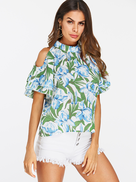 Yoins Floral Print Button Keyhole Design Cold Shoulder Ruffle Sleeves T-shirts