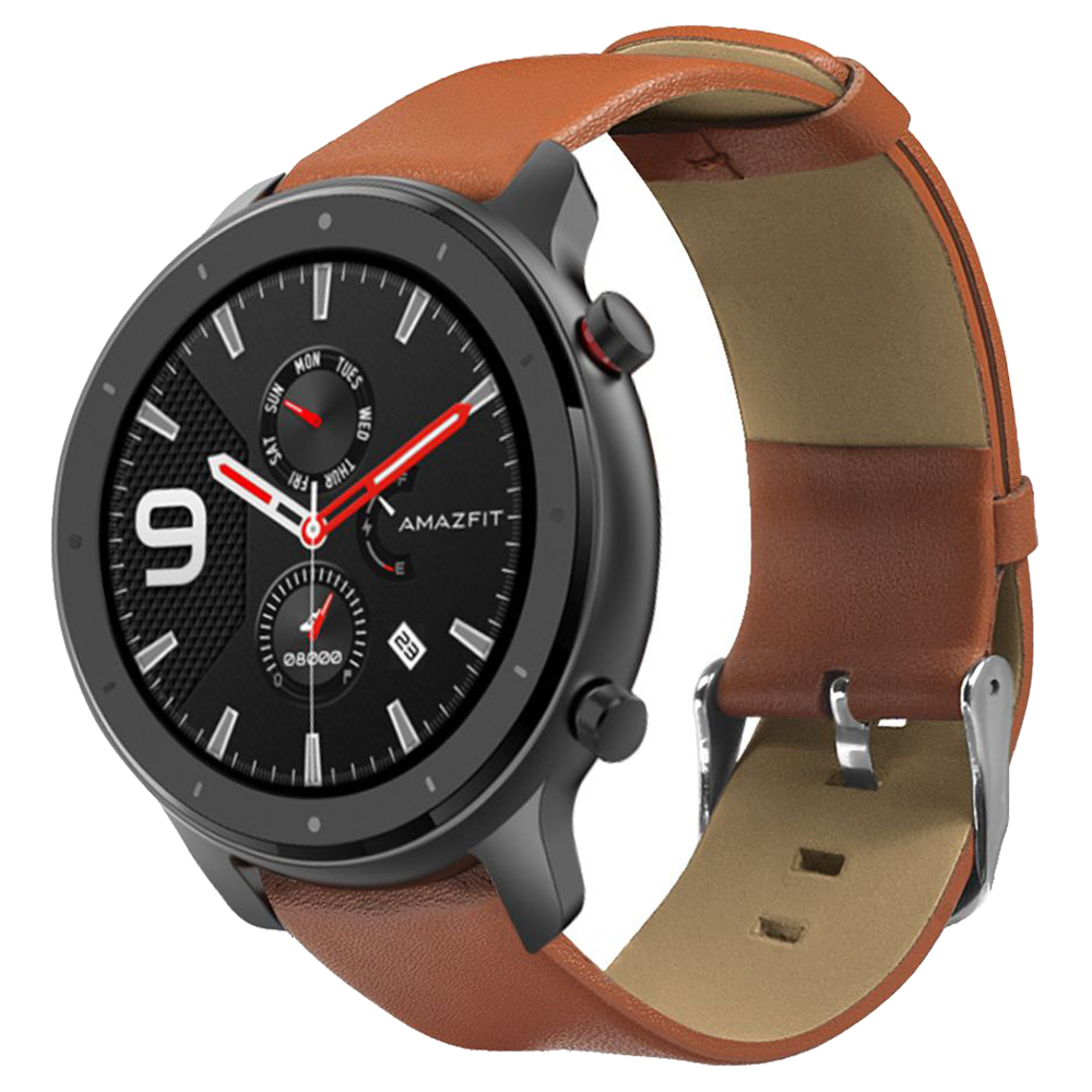 Replacement Strap For Huami Amazfit GTR 47MM Genuine Leather Version - Brown