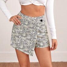 Snakeskin Print Culottes Shorts