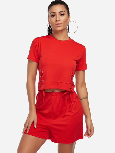 Yoins Red Lace-up Design Crew Neck Short Sleeves Active Tracksuit