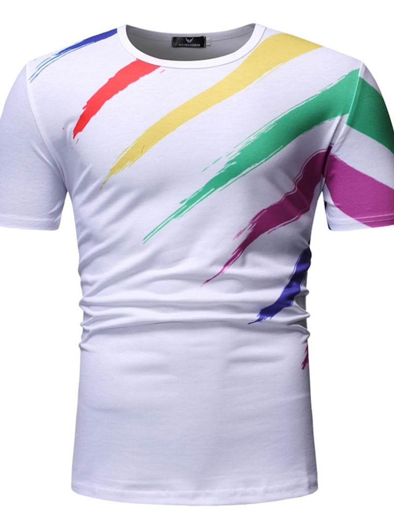 Ericdress Color Block Print Casual Slim Mens Short Sleeve T-shirt