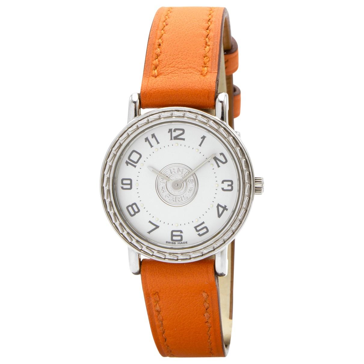 Hermes Sellier Uhr in  Orange Stahl