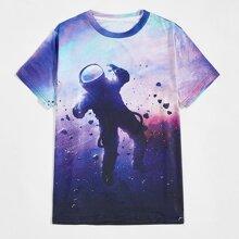 T-Shirt mit Galaxie & Figur Muster