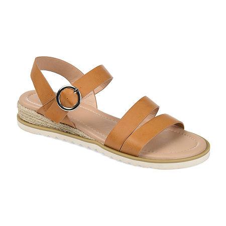Journee Collection Womens Nikki Wedge Sandals, 8 Medium, Brown
