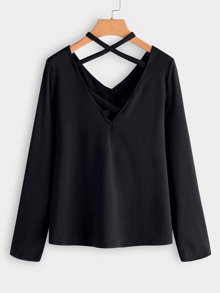 Yoins Black Criss-cross Deep V Neck 3/4 Length Sleeves T-shirt