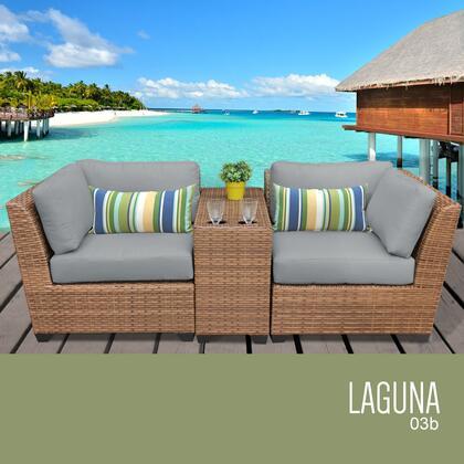 LAGUNA-03b-GREY Laguna 3 Piece Outdoor Wicker Patio Furniture Set 03b with 2 Covers: Wheat and