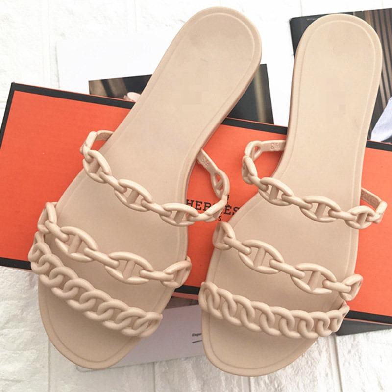 Ericdress Slip-On Chain Flip Flop Plain Slippers