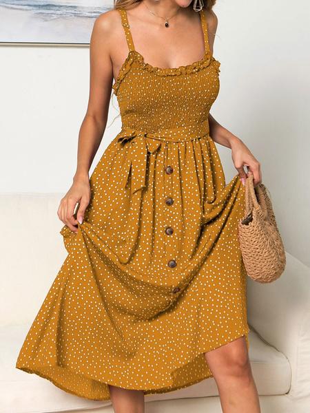 Milanoo Vestido de la gasa del verano amarillo correas de cuello Impreso vestido de la playa para las mujeres