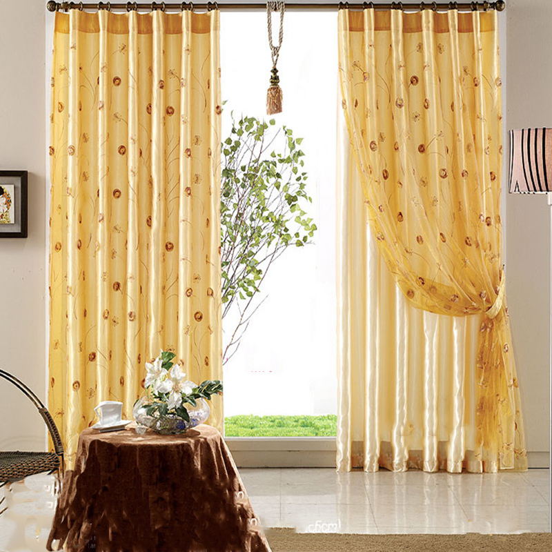 Blackout Polyester Embroidered Dandelions Modern Style 2 Panels Grommet top Curtain Set