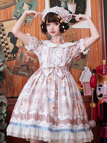 Milanoo Vestido Sweet Lolita OP Neverland Bows Postre Volantes Lolita Vestidos de una pieza