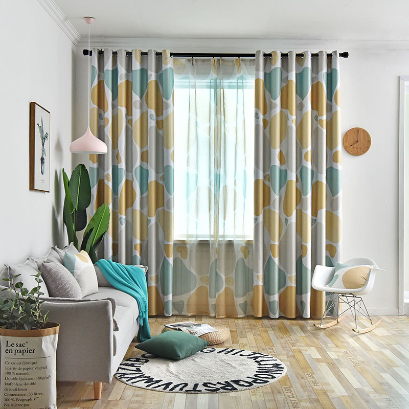 Modern Nordic Style Color Block Blackout Curtains for Living Room Bedroom No Pilling No Fading No off-lining Machine Wash Accepted