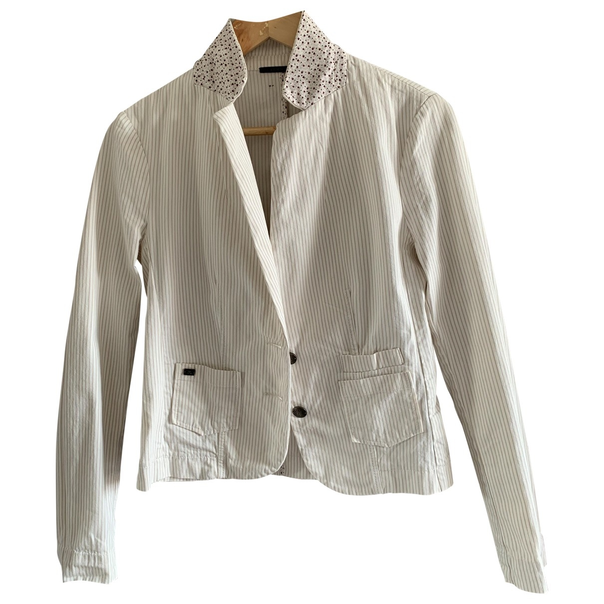 Ikks - Veste   pour femme en coton - blanc