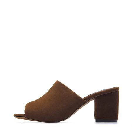 Yoins Brown Suede Look Peep Toe Block Heel Mules