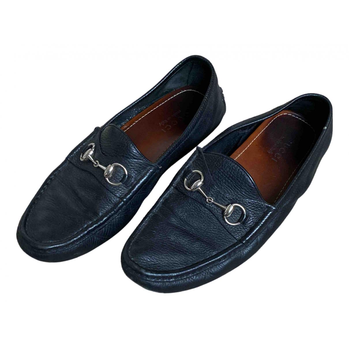 Gucci N Black Leather Flats for Men 8.5 UK
