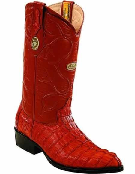 Men's Cognac Handmade Caiman Tail J Toe Boots Full Leather Lining