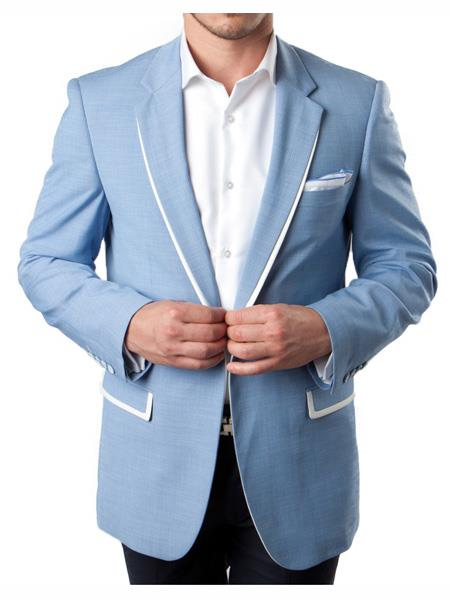 Mens 1 Button Sky Blue Summer Blazer With White Trim Accents