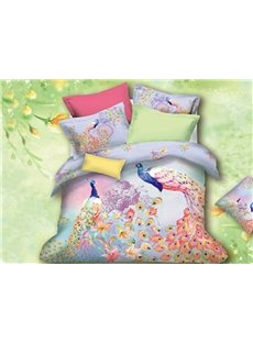 100% Cotton Colorful Peacock Print 4 Piece Bedding Sets