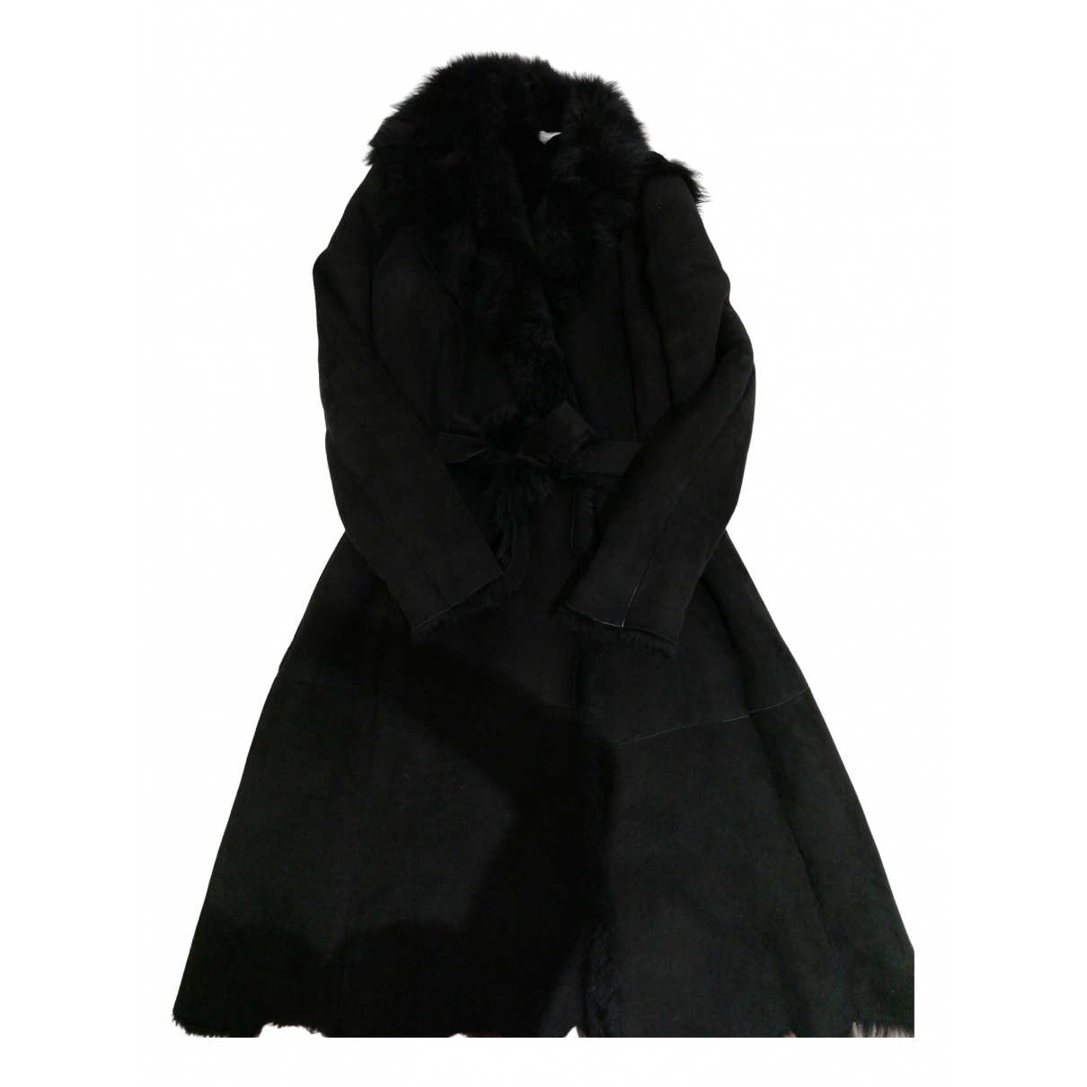 Genny \N Black Shearling coat for Women 44 IT