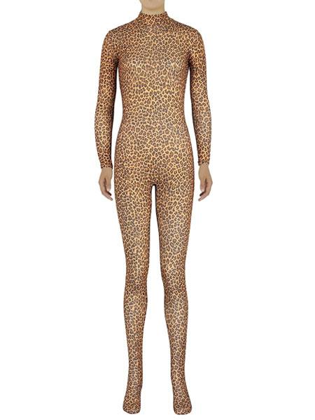 Milanoo Disfraz Halloween Estampado de leopardo multicolor Zentai Slim Fit traje de Spandex para mujeres Halloween
