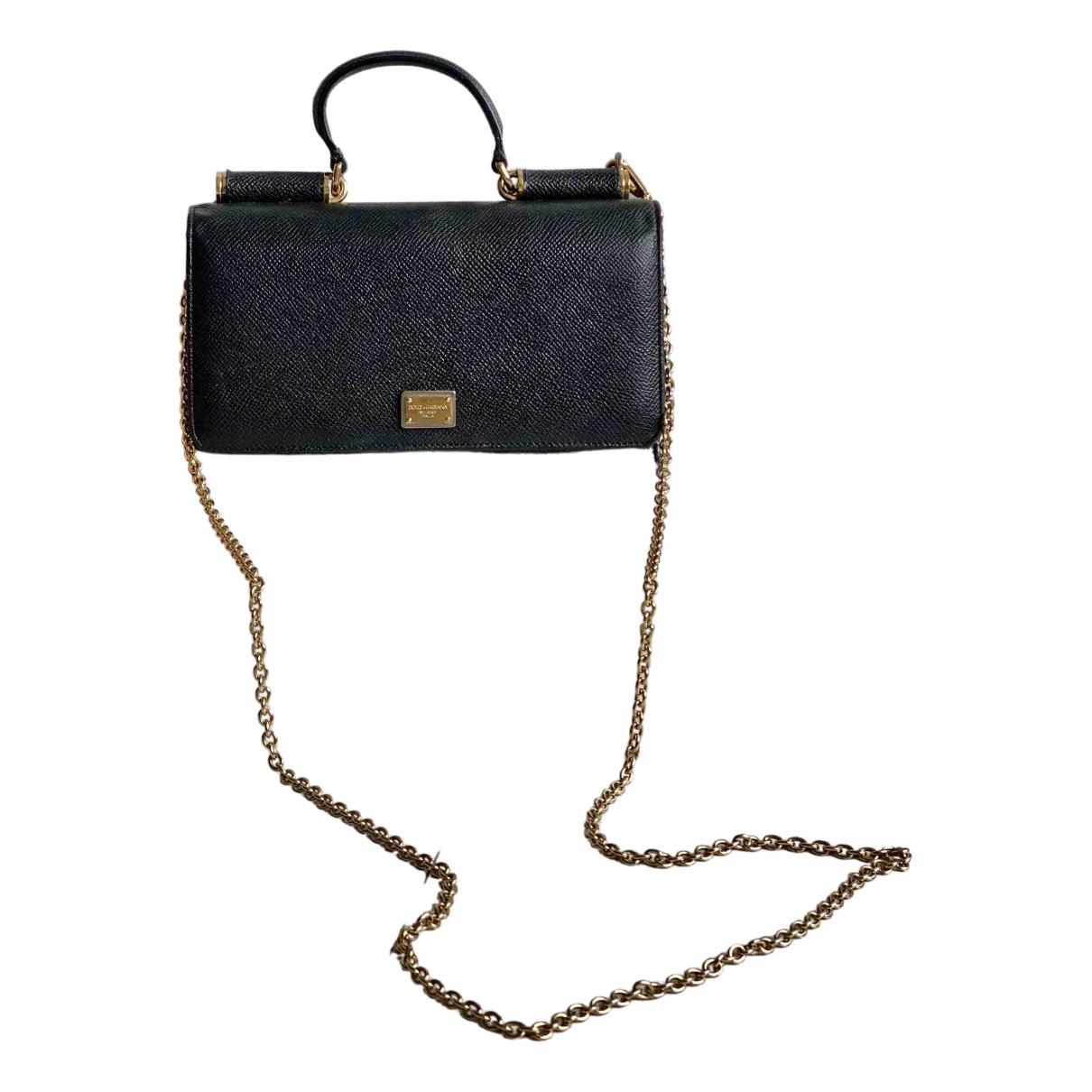 Dolce & Gabbana - Pochette Sicily pour femme en cuir - noir